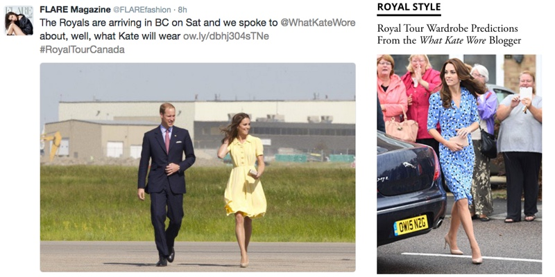 flare-magazine-canada-tour-interview-media-susan-kelley-what-kate-wore-predictions-wkw-graphics-tweet-and-graphic-side-by-side