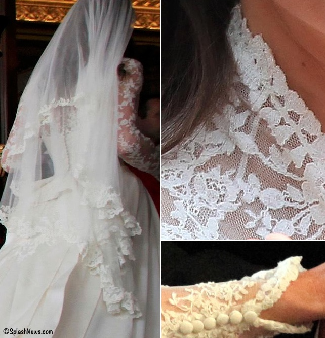 Kate Middleton Wedding Gown Closeup Lace Sleeve Buttons Veil