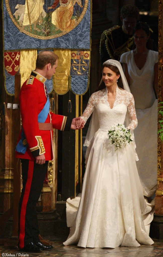 Kate Middleton Royal Wedding Exiting Abbey with Prince William April 29 2011 Alexander McQueen gown