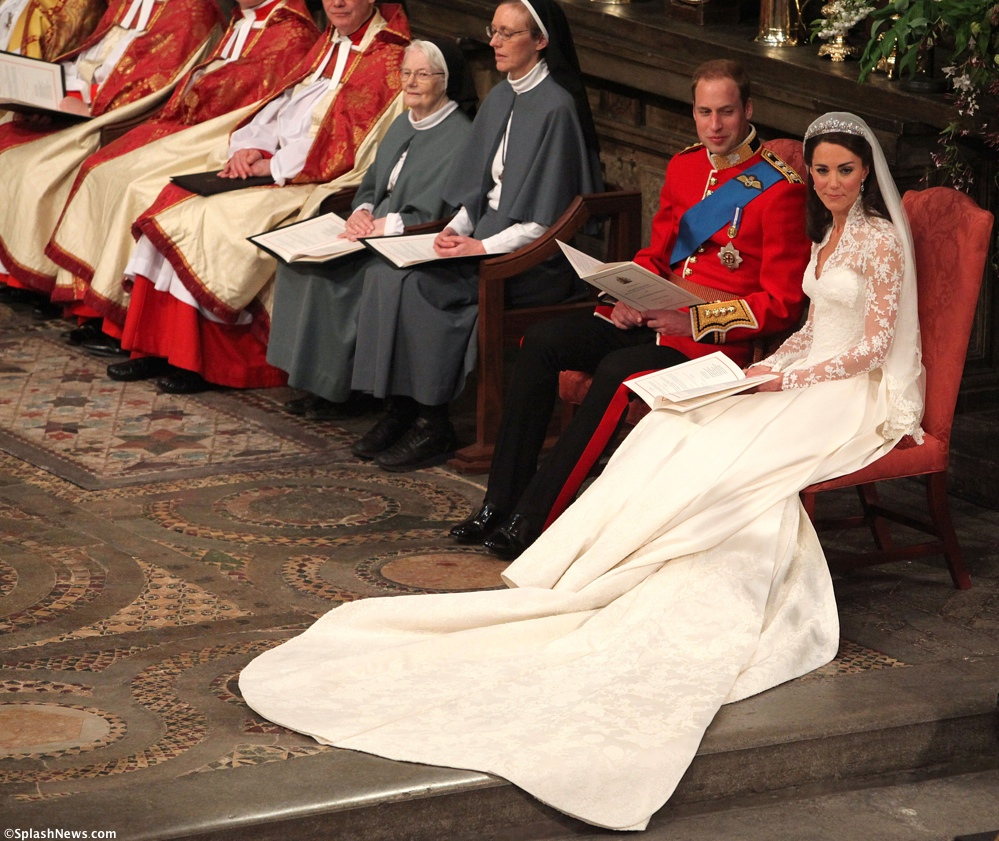 Royal Wedding Kate Middleton Prince William seated Westminster Abbey McQueen Gown Cartier Halo Tiara