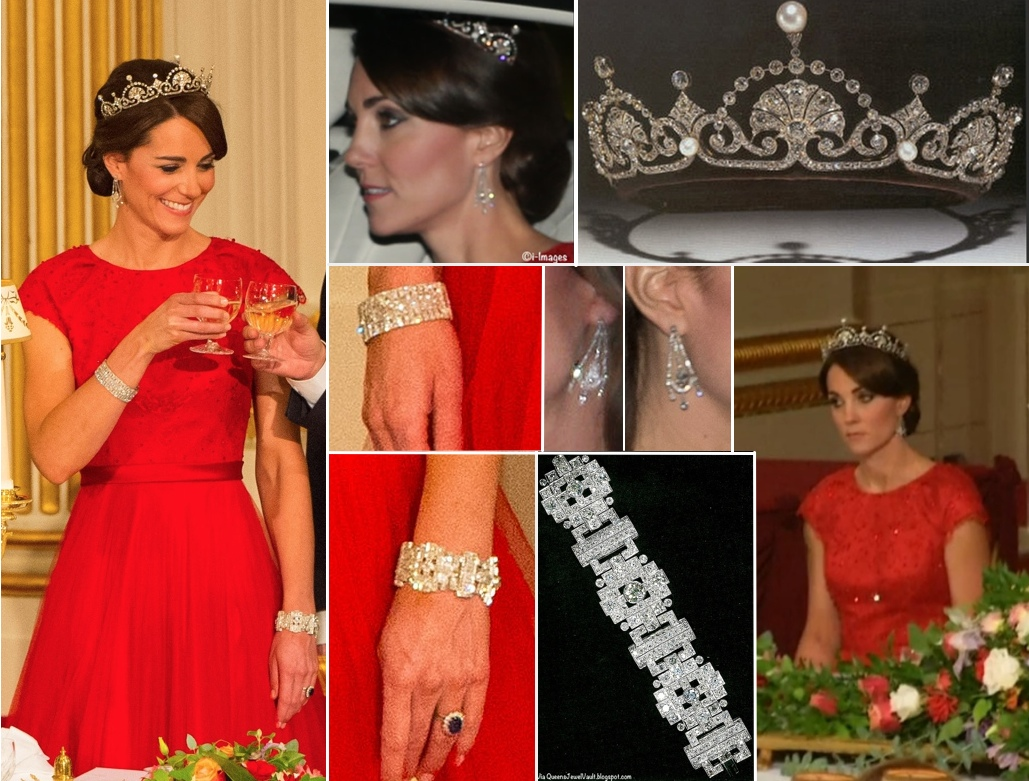 Kate Iconic Looks China State Visit Banquet Red Packham Lotus Flower Tiara October 20 2015