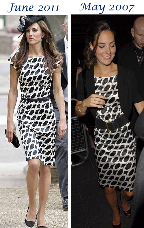 Kate Black White Ovals Dress Waley Wedding Boujis What Kate Wore