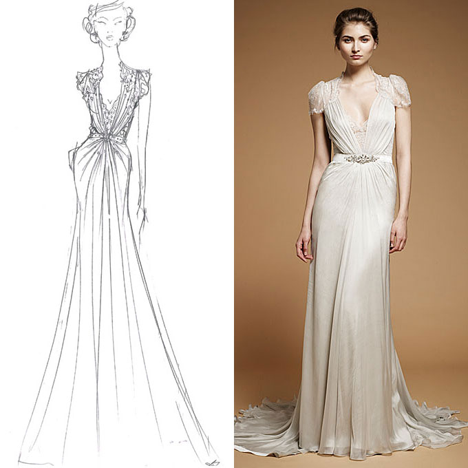 Fall 2012 from sketch to wedding dress by jenny packham 1 for Wedding dress designer jenny packham
