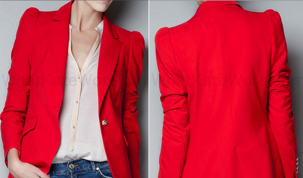 Kate Red Zara Blazer Archives - What Kate Wore
