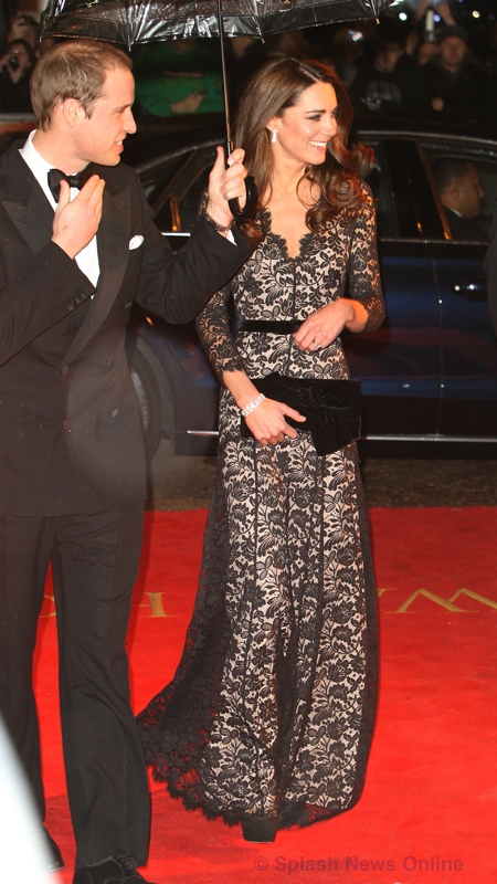 Kate Middleton black lace gown Temperley London Duchess Amoret War Horse