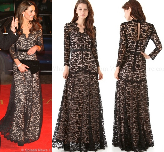 Duchess Kate lace evening gown pictures