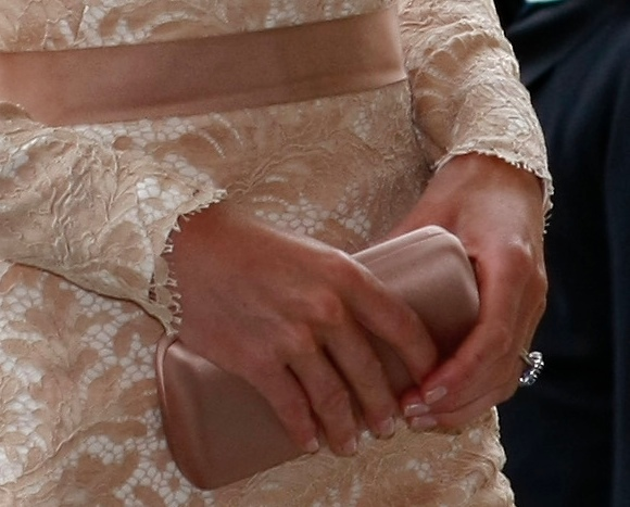 Kate Eyelash Trim Closeup McQueen Lace Dress Diamond Jubilee Church Service