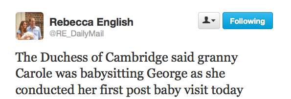 Rebecca English, The Daily Mail Twitter Feed