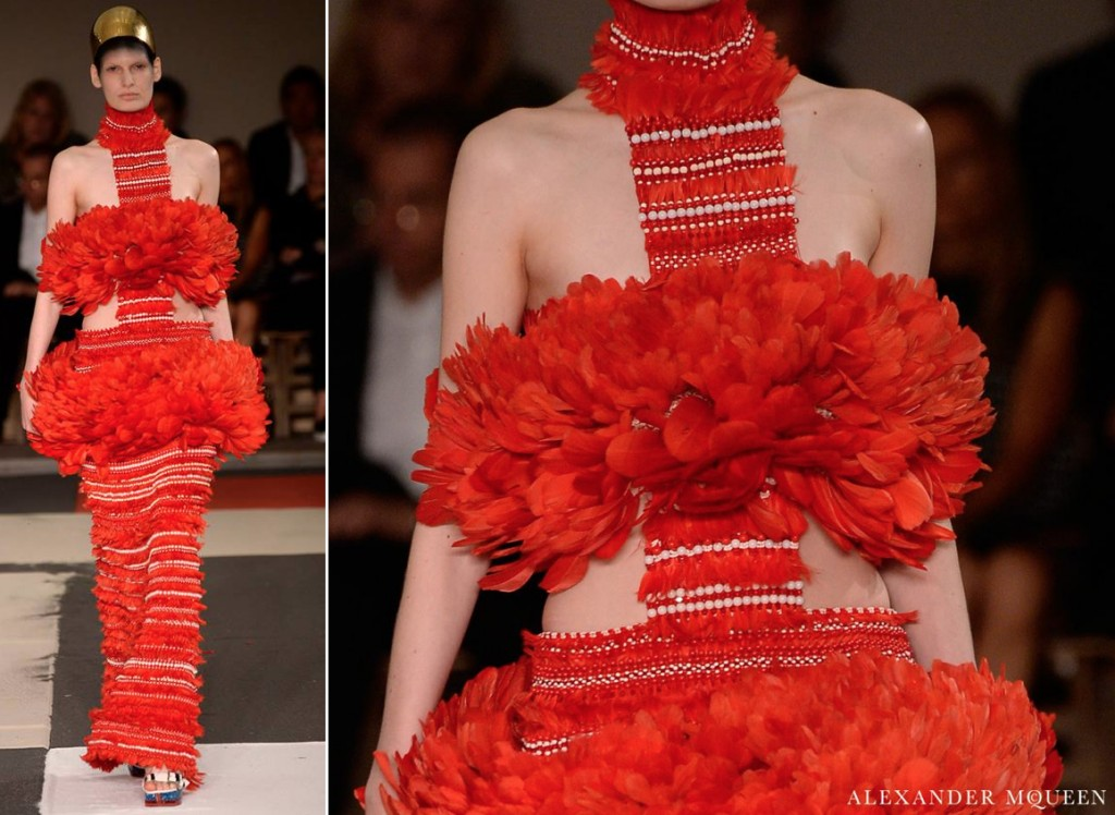 McQueen Spring 2014 Feather Gown