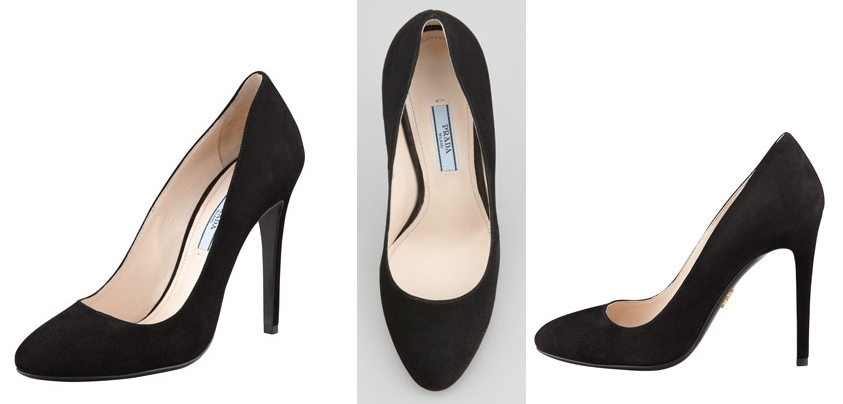 Prada Suede Round Toe Pump at Neiman Marcus