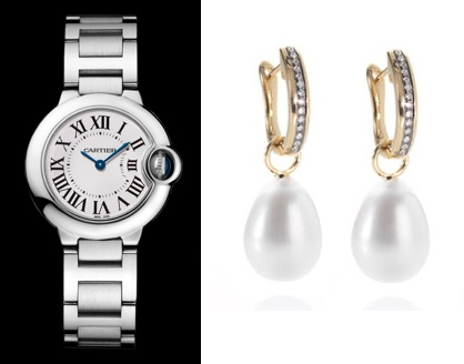 Kate Cartier Wrist Watch and Annoushka Pearl Drop Earrings