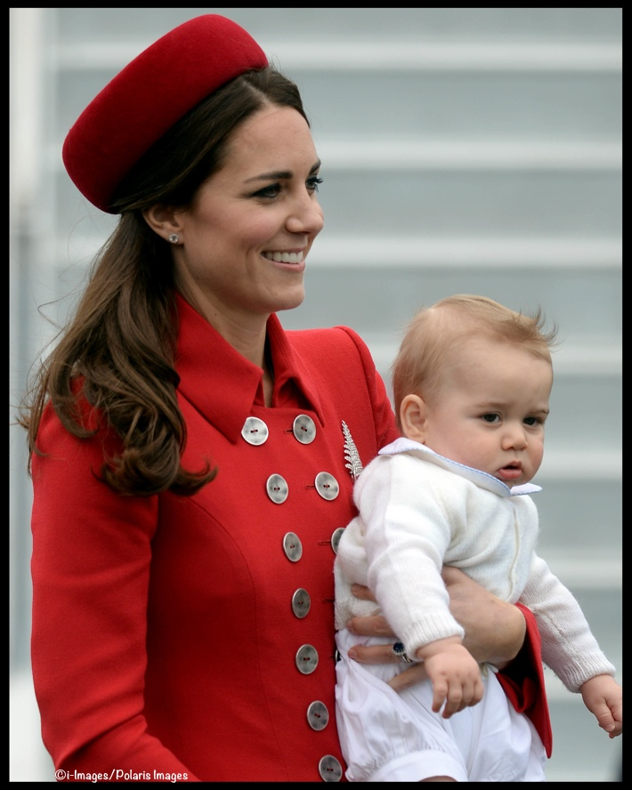 Kate Middleton Prince George Red Catherine Walker Arriving New Zealand