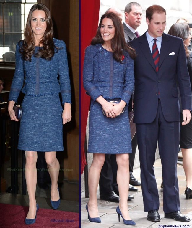 Kate Middleton Blue Sparkle Tweed Rebecca Taylor suit separates pictures