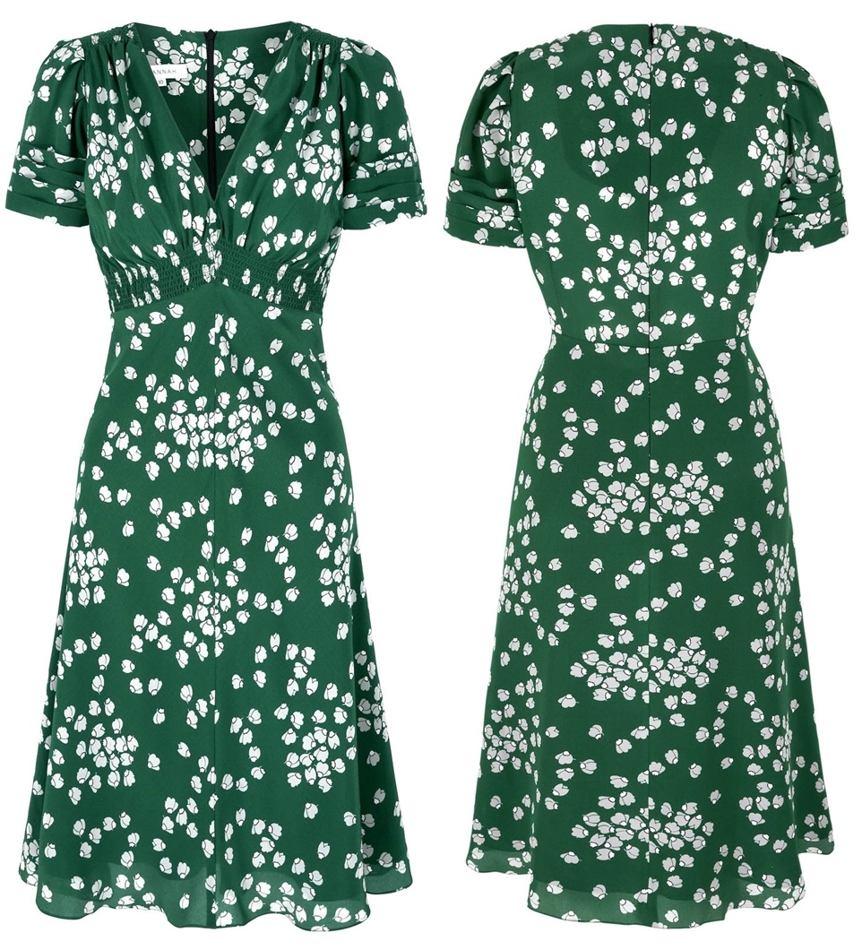Kate Suzannah Budding Hearts Silk Tea Dress Worn on Royal Tour 2014 Visits to Rainbow Place Hospice, Cambridge Rugby