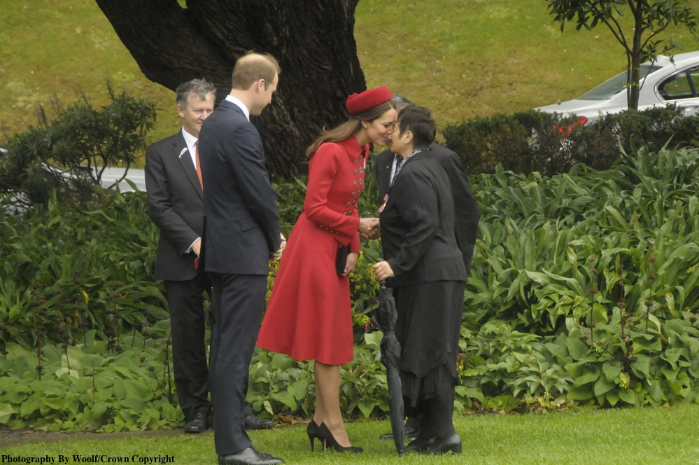 Maori elder Hiria Hape Kate Middleton Red Catherine Walker New Zealand