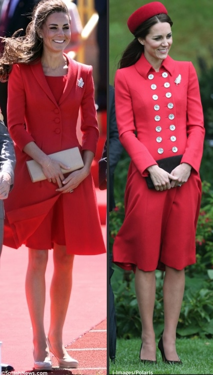 Kate Royal Tour 2014 Catherine Walker Red Ensemble Comparison Splash i-ImagesPolaris