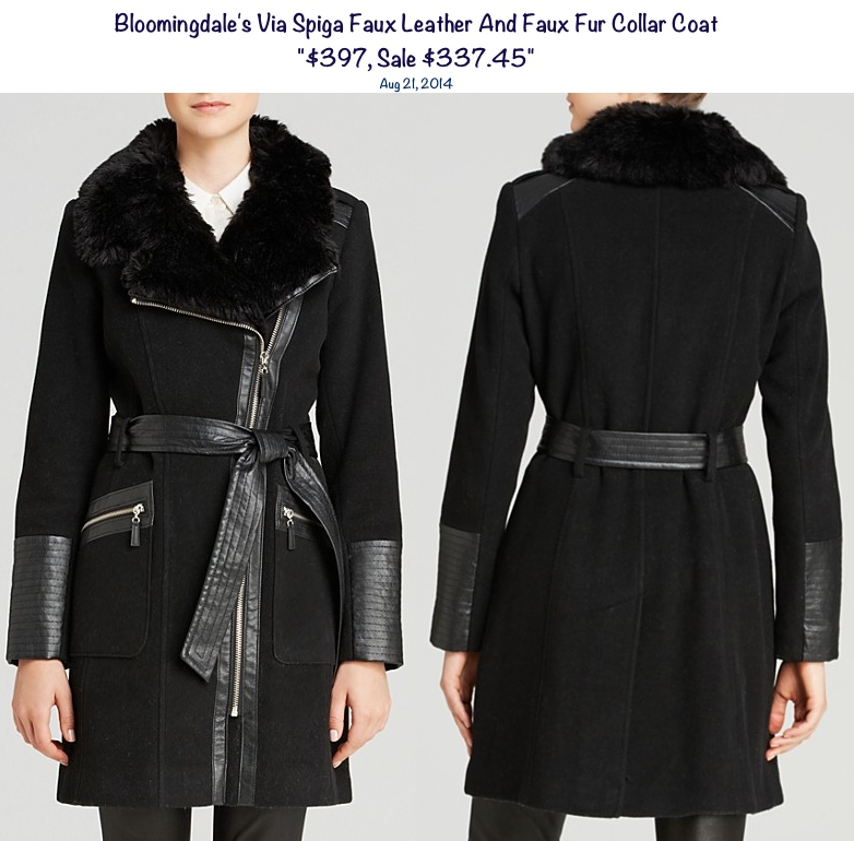 Bloomingdales Faux Leather and Faux Fur Collar Coat-