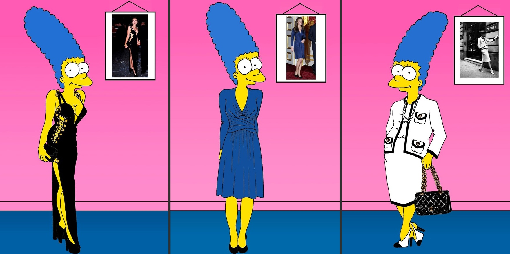 Palombo Vogue Iconic Dresses Marge Simpson Kate Issa Coco Chanel Suit Liz Hurley Safety Pin Dress