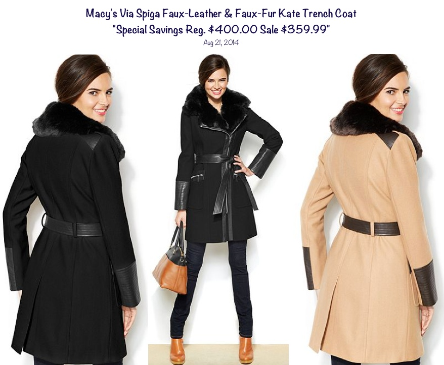 Macy's Via Spiga Faux-Leather and Faux-Fur Kate Trench Coat