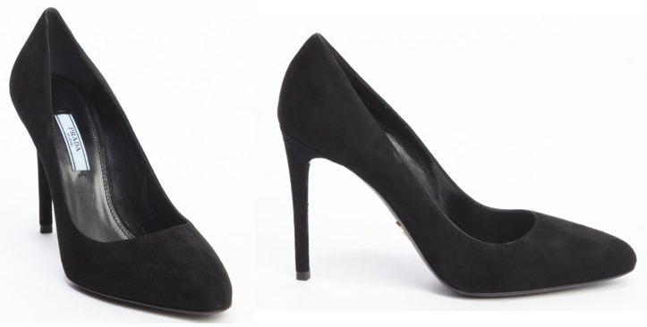 Prada Black Suede Classic Pump Bluefly.com