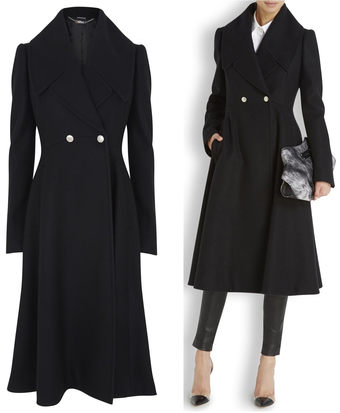 Fit & Flare Wool Coat: Allover seaming combines with your favorite fit & flare silhouette to create a gorgeous shape. 3/4-length coat has a shawl collar and on-seam pockets (sewn closed like all finely tailored garments).