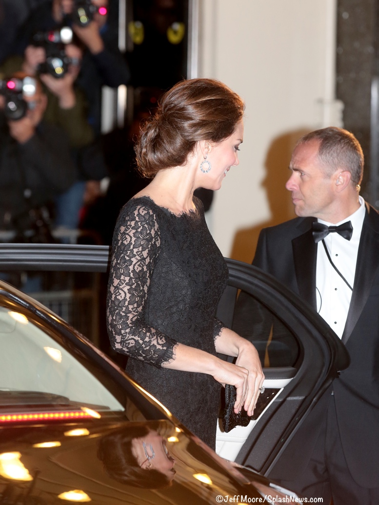 Kate Middleton Royal Variety 2014 Black Lace Zarita DVF Diane von Furstenberg