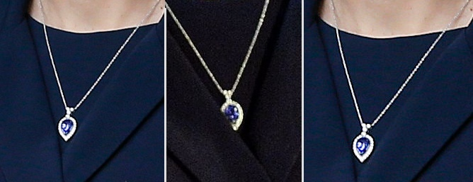 Afghan Service Commemoration March 13 2015 Three 3 Shots Kate Navy background New Becklace Blue Cabochon Pear Shaped Tear Drop Shape with Diamonds