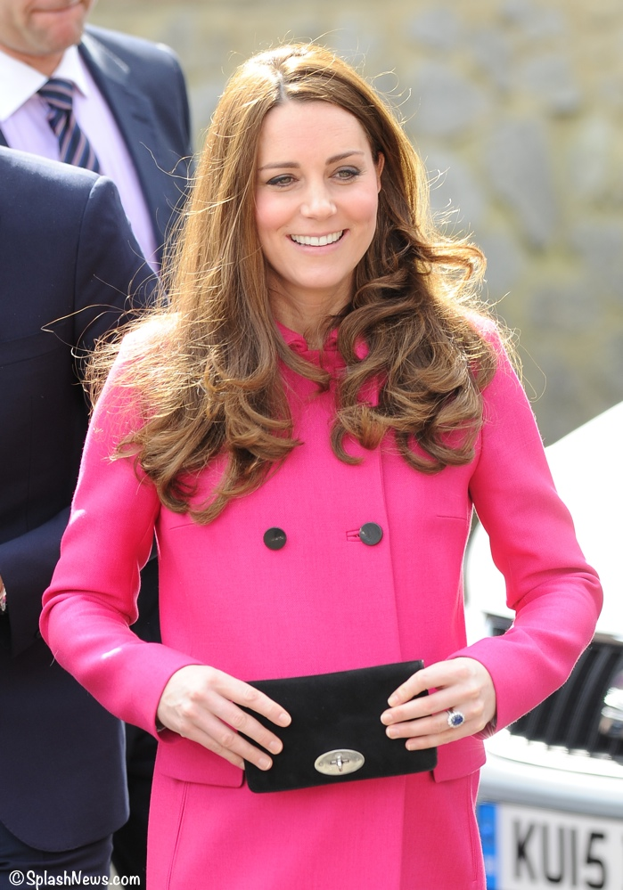 943453b9c516 Kate in Hot Pink Mulberry Coat for South London Visits