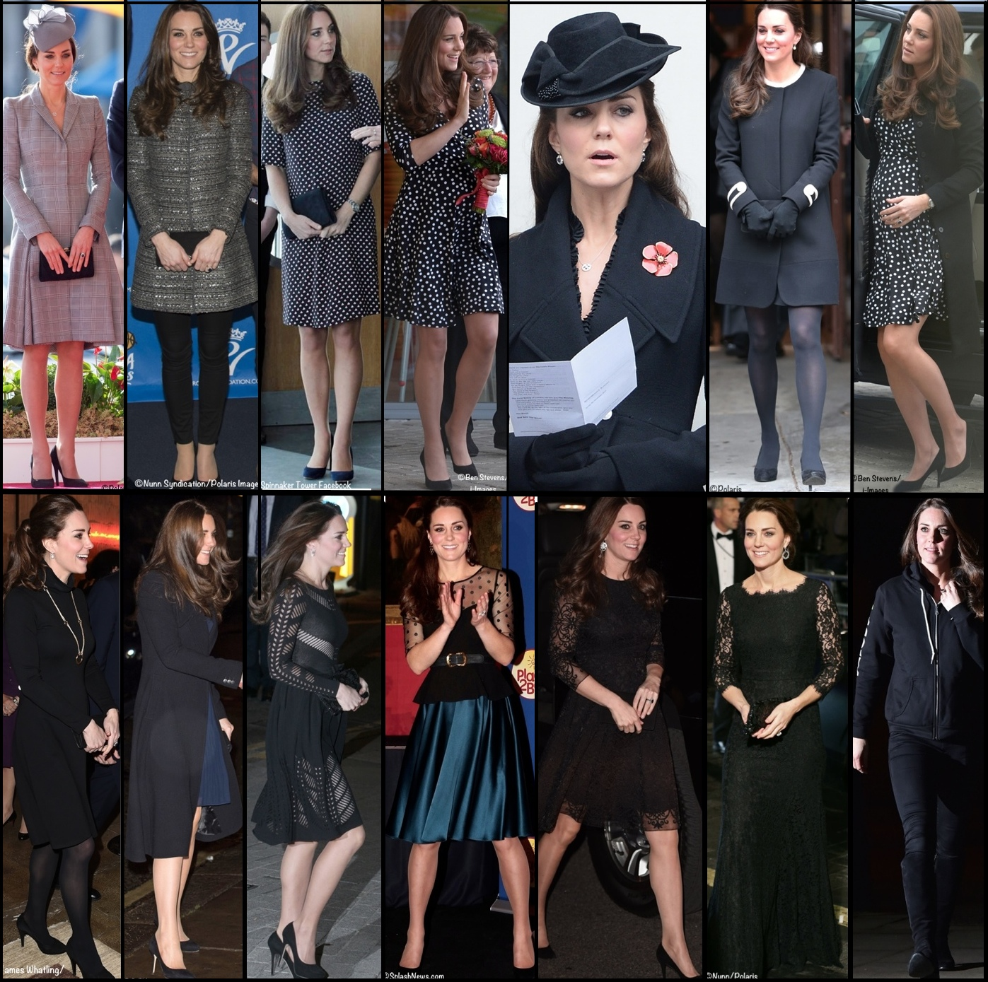 Kate Maternity Pregnancy Wardrobe Wrapup Black Outfits April 2015
