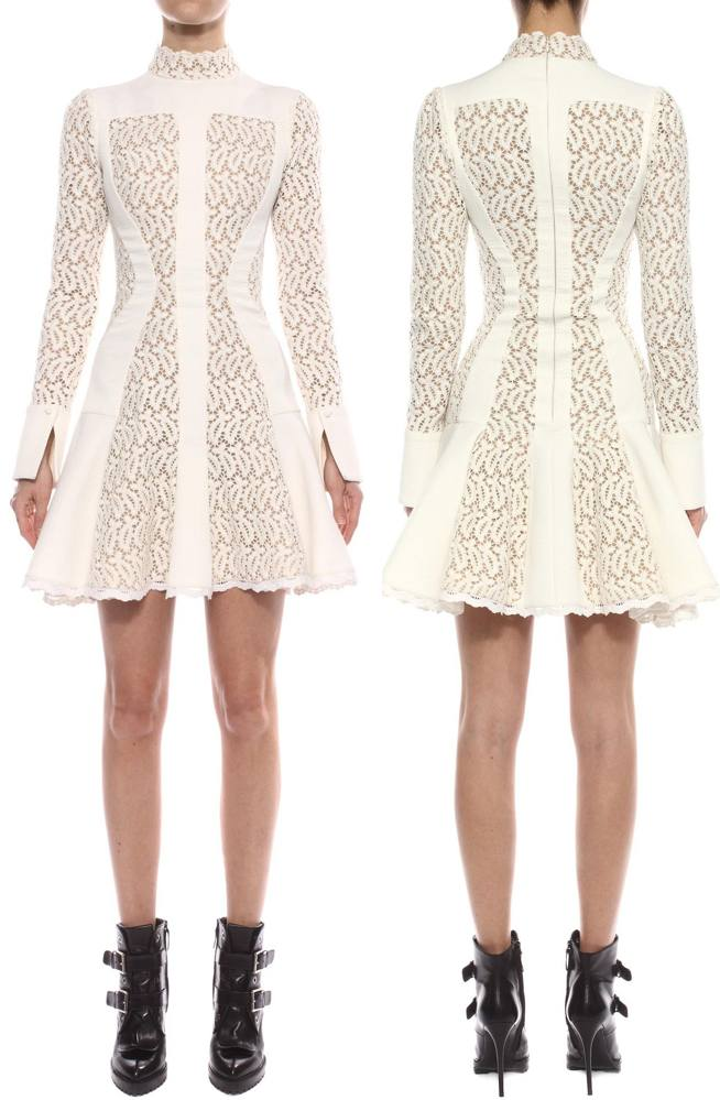 McQueen Broderie Anglaise Mini Dress pre Fall 2015