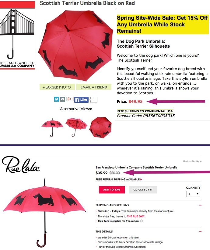 TOP: San Francisco Umbrella Company BOTTOM: Rue La La