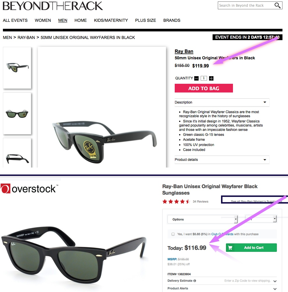 TOP: Beyond the Rack, BOTTOM: Overstock.com