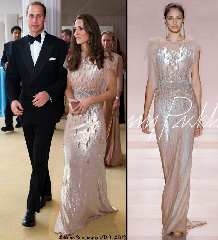 Kate Middleton ARK Dinner Blush Jenny Packham Gown