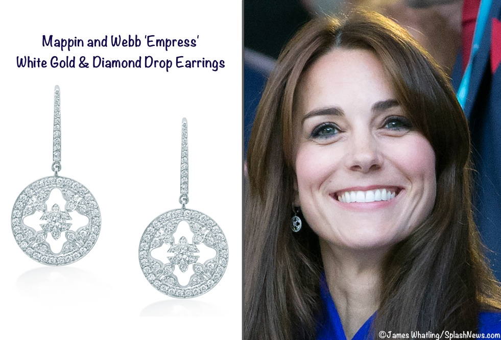 Kate Mappin Webb Empress Earrings at Rugby Opening Ceremony Blue Reiss Emile Coat Product Shot Whatling