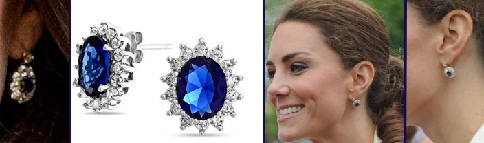For Sapphire Diamond Earrings Bling Jewelry Katre Middkleton Style CZ March 6 2016