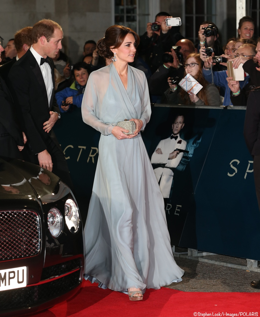 Kate Middleton evening gown James Bond Spectre premiere