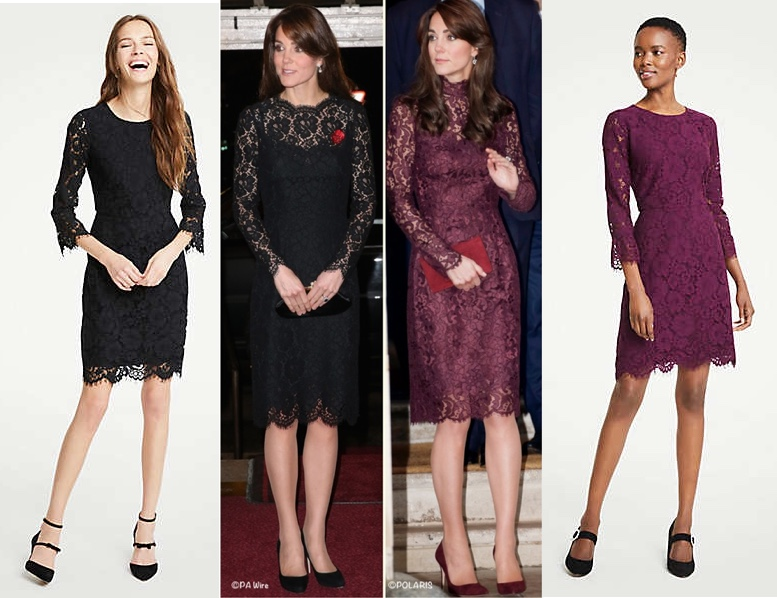 958001a2e23 ... great repliKate for two of Kate s Dolce   Gabbana lace dresses  it is  the Petite Lace Flare Dress ( 54 on sale) as shown at Ann Taylor.