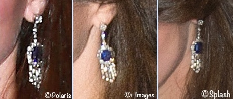 Kate Hedge Funds Dinner Jewelry October 27 2015 Queen Mother's Sapphite Diamond Earrings