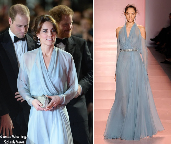 Kate Middleton Jenny Packham evening gown James Bond Spectre premiere