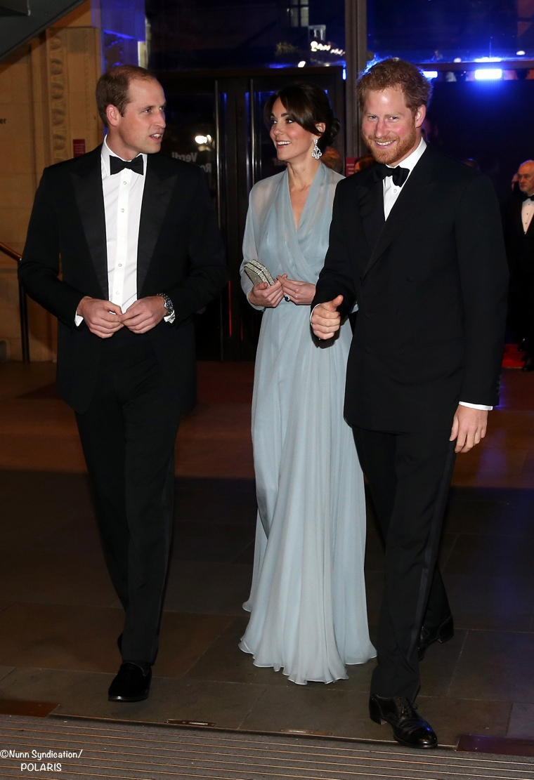 Kate Middleton Harry William evening gown James Bond Spectre premiere