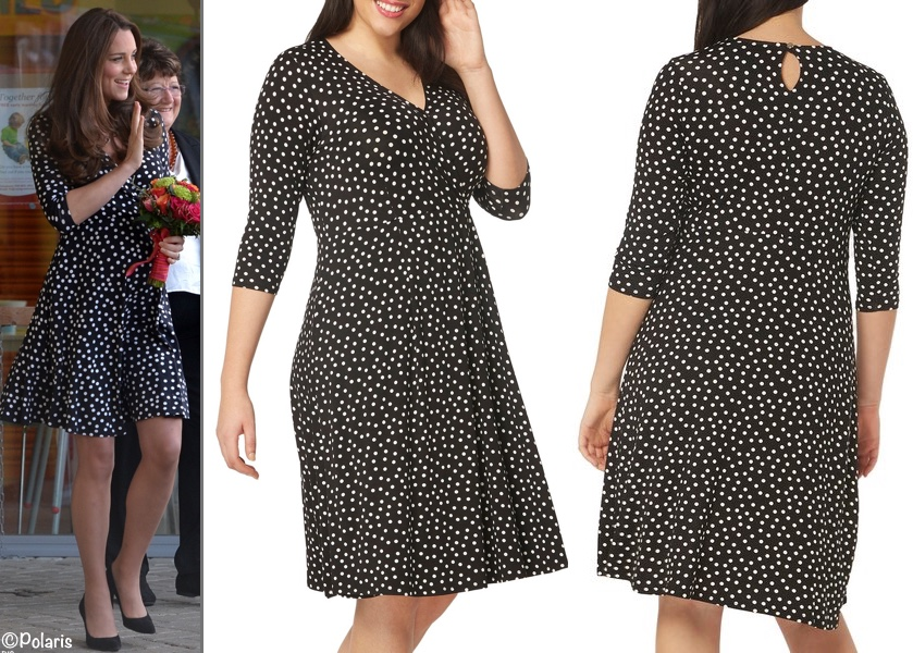 Navy Polka Dot Sheath Dress