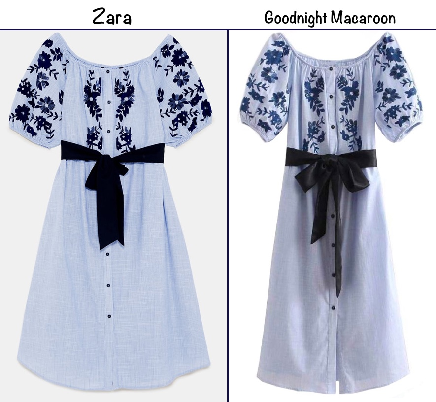 5b37d4fa2 The 'Hannah' Off the Shoulder Embroidered dress is offered in S, M, L sizes  ($65) at retailer Goodnight Macaroon.