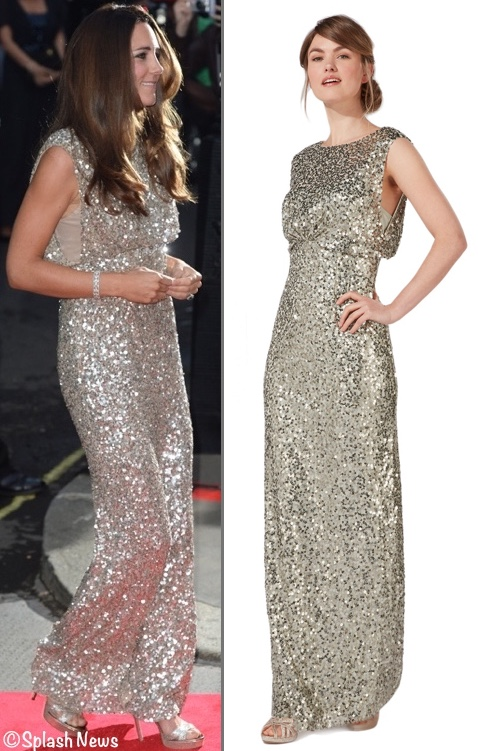 RepliKate for Jenny packham Gold Sequin Evening Gown worn to Tusk ...