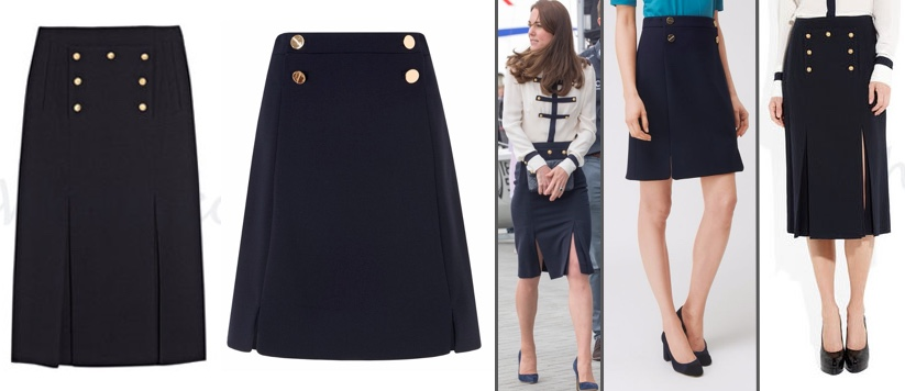 RepliKate for McQueen Military Skirt LK Bennett Bay Button Skirt House of Fraser March 29 2017