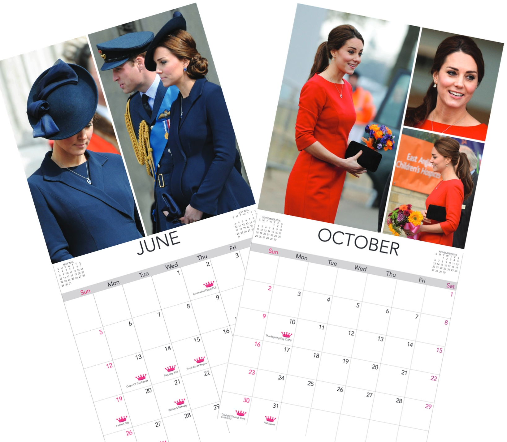 2016 Calendar June and October Montage with Dates
