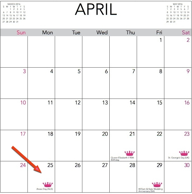 2016 WKW Calendar April Dates Page for Blog Post