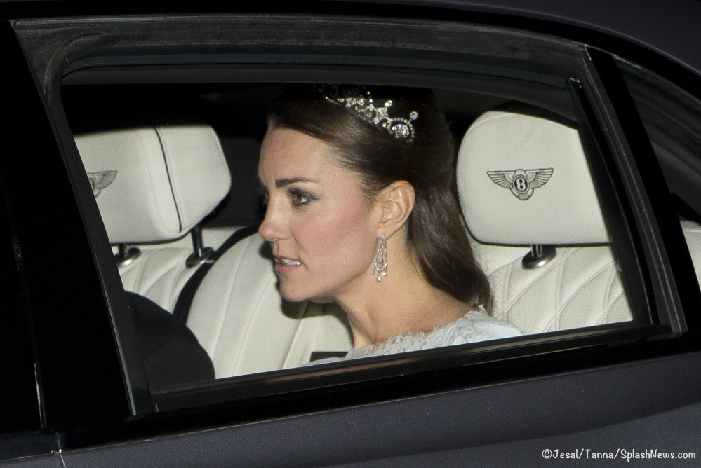 The Duchess Of Cambridge is seen wearing a Tiara as she attends a diplomatic event at buckingham palace.