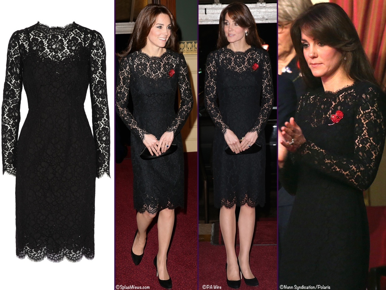 233c5fe6071 Kate   William to Visit Bhutan   Favorite Daytime Looks » Kate Festival  Remembrance November 7 2015 Black Lace Dolce Gabbana D G Lace Dress 4 Shot  Montage