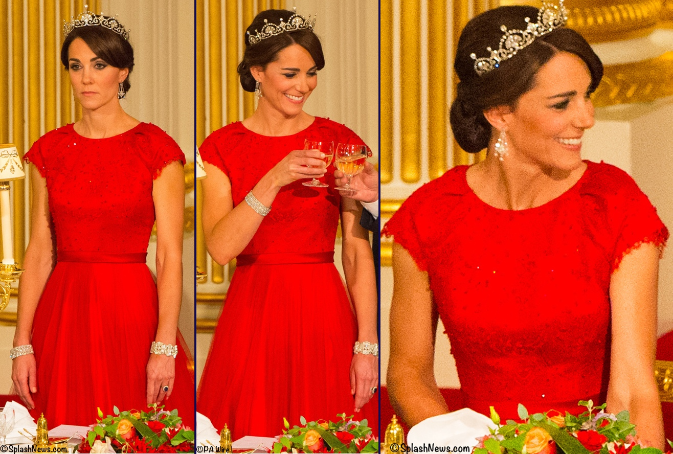 Kate Middleton Red Jenny packham Gown Tiara State Dinner Banquet China