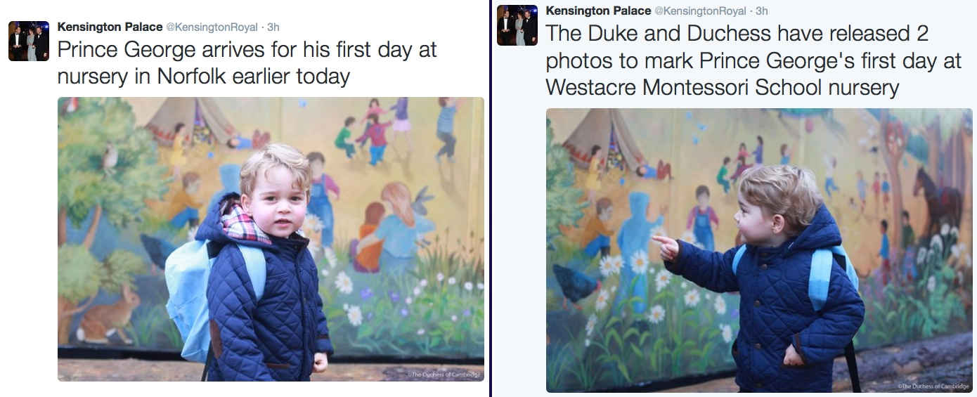 Kensington Palace Tweets George 1st Fisrt Day Nursery School January 6 2016